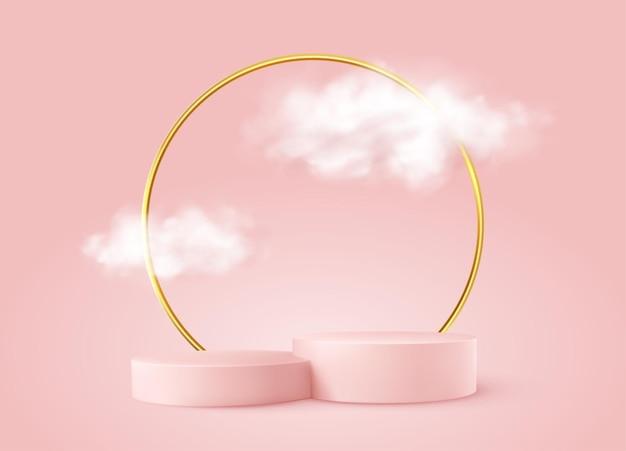 Realistyczne różowe podium produktu ze złotym okrągłym łukiem i chmurami