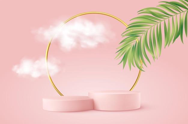Realistyczne różowe podium produktu ze złotym okrągłym łukiem, liściem palmowym i chmurami