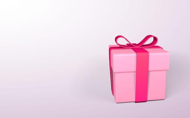 Realistyczne różowe pudełko z kokardą na białym tle