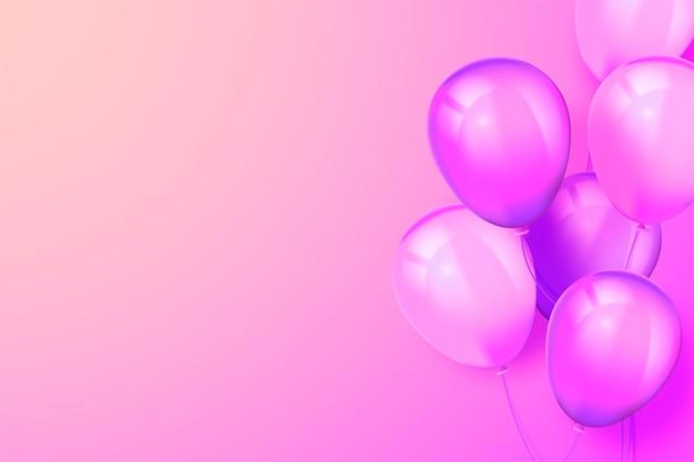 Realistyczne różowe tło z balonami