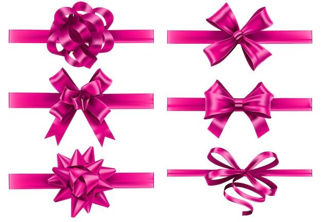 Realistyczne różowe wstążki z kokardkami. świąteczna kokardka do pakowania, różowa jedwabna wstążka i prezent na walentynki wektor zestaw dekoracji.