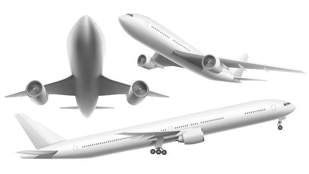 Realistyczne samoloty. samolot pasażerski, niebo latający samolot i samolot w różnych widokach, odizolowywaliśmy ilustrację