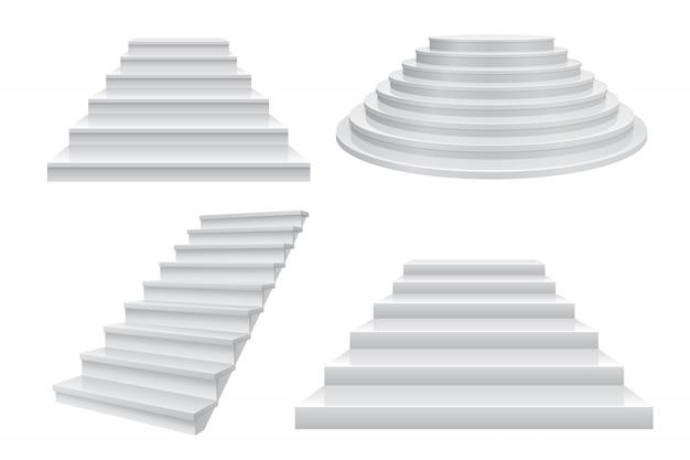 Realistyczne schody 3d. kariera schodki, drabina sukcesu frontowy widok odizolowywający na bielu. szablon nowoczesnego biznesu