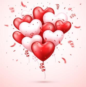 Realistyczne serca balonowe z konfetti