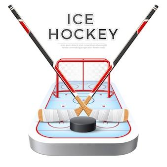 Realistyczne skrzyżowane kije hokejowe z krążkiem na czerwonej bramce z siatką i placem zabaw