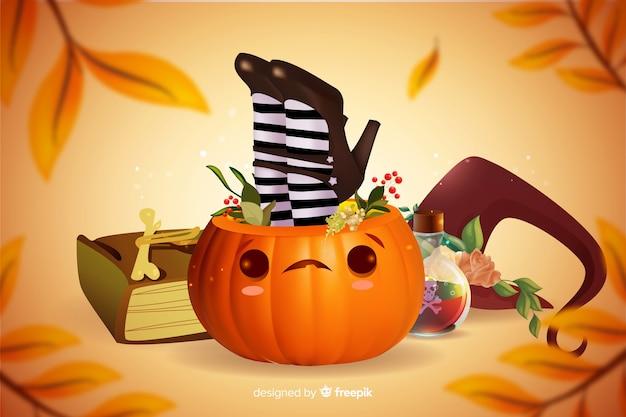 Realistyczne słodkie dyni halloween