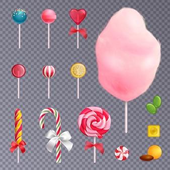 Realistyczne słodycze przezroczyste tło zestaw