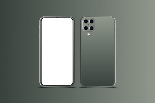 Realistyczne smartfony. telefon nowej generacji w kolorze północnej zieleni.