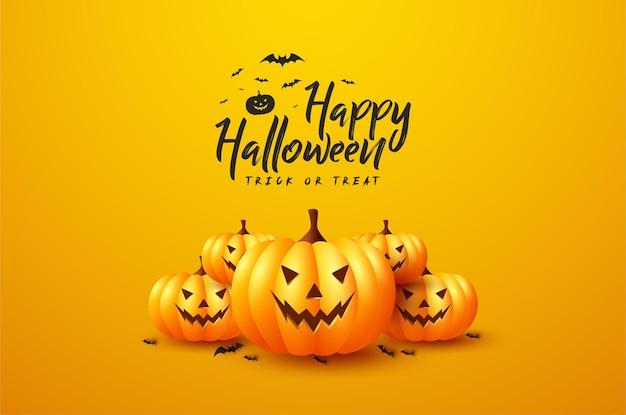 Realistyczne śmieszne dynie na halloween