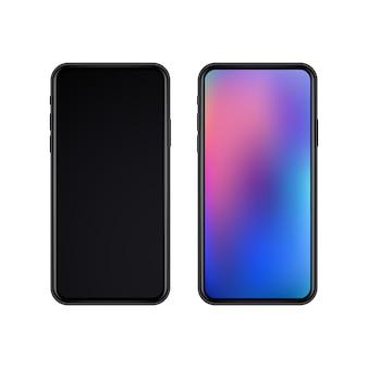 Realistyczne smukłe czarne smartfony z wyświetlaczem wyłączone i wyświetlanie na na białym tle