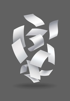 Realistyczne spadające arkusze papieru. zestaw latających zakrzywionych liści papieru. wektor luźny szybować nuty z zawiniętymi krawędziami. latać porozrzucane notatki, pusta chaotyczna papierkowa robota.