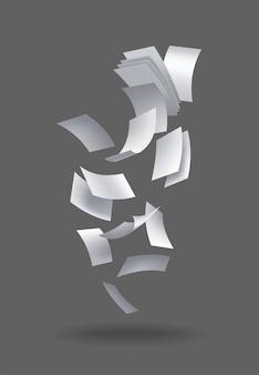Realistyczne spadające arkusze papieru. zestaw latających zakrzywionych liści papieru. wektor luźny szybować nuty z zawiniętymi krawędziami. mucha porozrzucane notatki, pusta chaotyczna papierkowa robota
