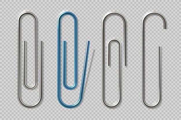 Realistyczne spinacze do papieru. izolowane przezroczyste elementy mocujące, przybory szkolne, metalowe uchwyty na notebooki. klipy