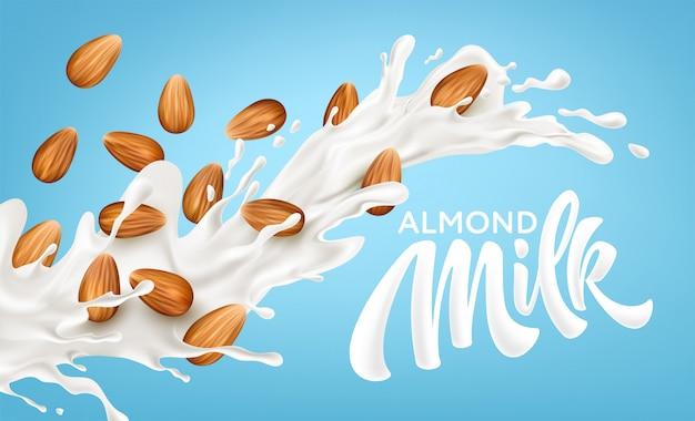 Realistyczne splash mleka migdałowego na niebieskim tle.