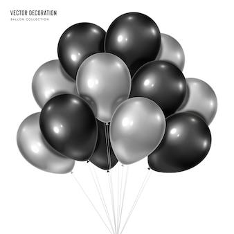 Realistyczne srebro z czarną wiązką balonów helowych na białym tle