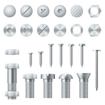 Realistyczne śruby, śruby, nakrętki, gwoździe i nity