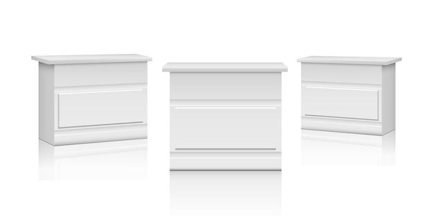 Realistyczne stoiska promocyjne. białe lady targowe, komoda lub komoda 3d z wnętrzem. makieta wektor stoły wystawowe expo. pusty biały stojak, ilustracja prezentacji makiety wystawowej