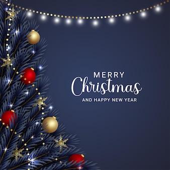 Realistyczne świąteczne liście złote i czerwone kulki złote płatki śniegu z bożonarodzeniowymi światłami