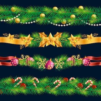 Realistyczne świąteczne ramki i obramowania