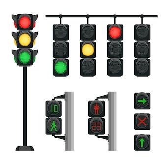 Realistyczne światła drogowe. sygnały bezpieczeństwa do prowadzenia transportu na skrzyżowaniu ulicy w mieście, wektor ilustracja koncepcja bezpieczeństwa miejskiego z semaforem na białym tle