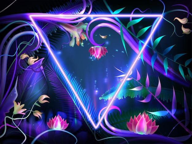 Realistyczne świecące liście z fioletową neonową ramką. jasne kwiaty lotosu, egzotyczne podświetlone rośliny i tropikalny liść dżungli z obramowaniem w kształcie trójkąta. projekt z ciemnym tłem na zaproszenie