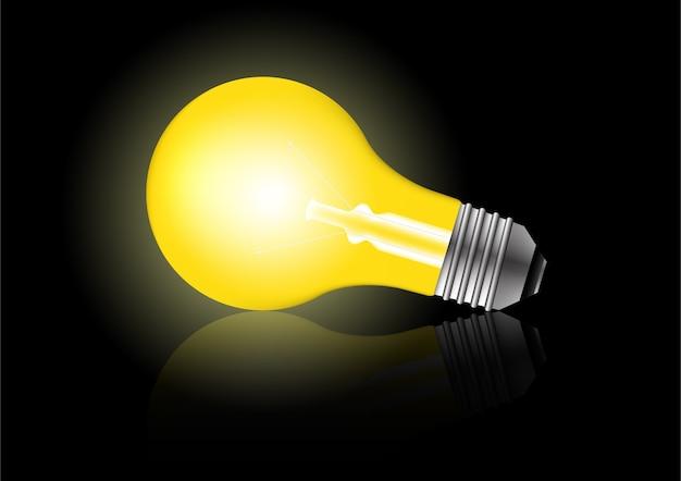 Realistyczne świecące światła z cieniami. koncepcja kreatywna pomysł żarówki.