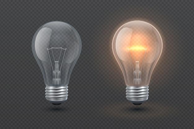 Realistyczne świecące żarówki elektryczne na przezroczystym tle