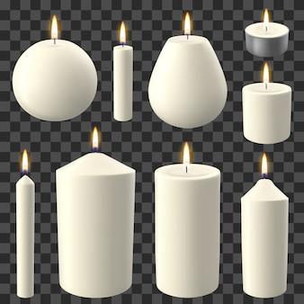 Realistyczne świece. święta przy świecach, romantyczna i przytulna płonąca świeca woskowa, zestaw ilustracji płonących świateł imprezowych. romantyczny ogień świec w formie woskowej dekoracji świec