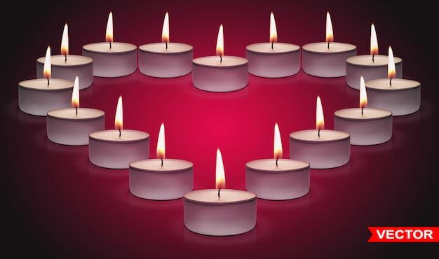 Realistyczne świece w kształcie serca walentynki