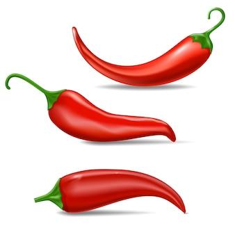 Realistyczne świeża czerwona papryczka chili. kuchnia organicznych pikantny smak chili meksykańska papryka zestaw trzech papryki na białym tle