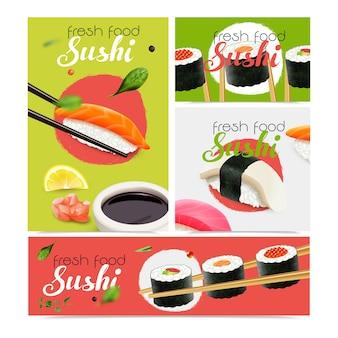 Realistyczne świeże banery sushi zestaw z symbolami owoców morza ilustracja na białym tle