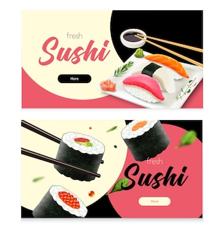 Realistyczne świeże sushi poziome banery zestaw ilustracji na białym tle