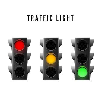 Realistyczne sygnalizacja świetlna. sygnał świetlny czerwony, żółty i zielony. ilustracja na białym tle wektor