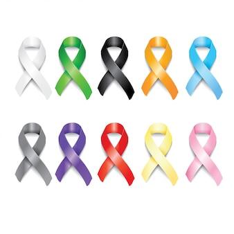 Realistyczne symbole wstążki w różnych kolorach.