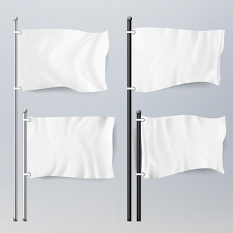 Realistyczne szablon puste białe flagi