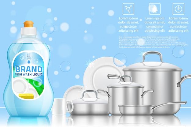 Realistyczne szablon reklama zmywanie naczyń