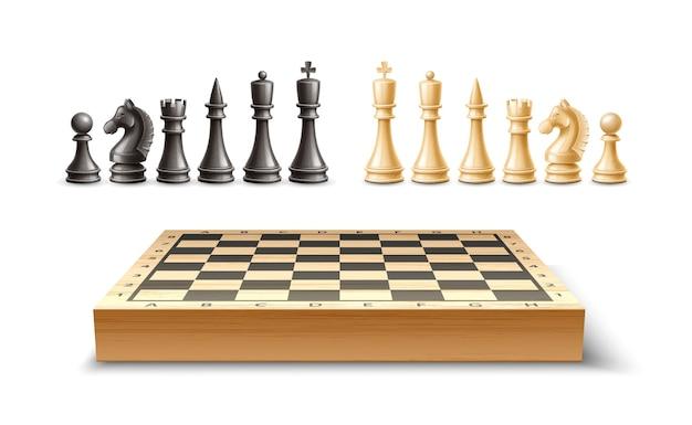 Realistyczne szachy i szachownica. król, królowa, biskup i wieża pionków czarno-białe figurki szachowe do strategicznej gry planszowej.