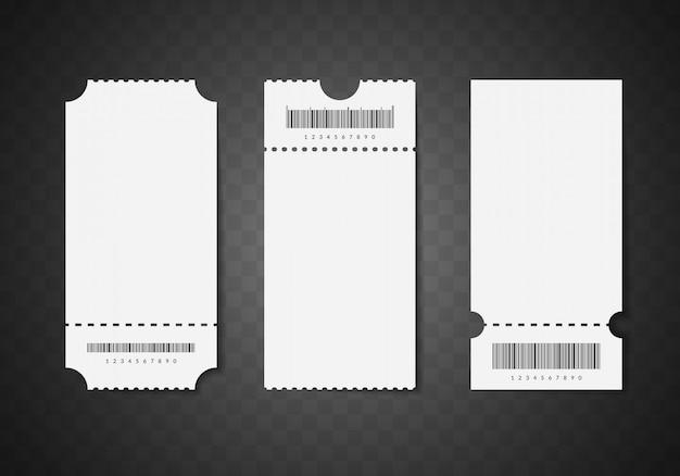 Realistyczne szczegółowe 3d białe puste bilety. makieta pusty szablon zestaw do kina lub teatru.