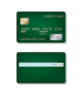 Realistyczne szczegółowe karty kredytowe z kolorowym zielonym. szablon przedniej i tylnej strony