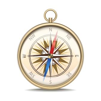 Realistyczne szczegółowe metalowe kompas z nawigacji sprzętu w starym stylu róża wiatrów na białym tle na białym tle.
