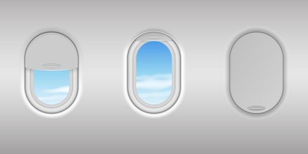Realistyczne szczegółowe okno samolotu 3d z zestawem widoków błękitnego nieba. bulaj z otwartym i zamkniętym szkłem. wnętrze kabiny samolotu w locie. ilustracja wektorowa