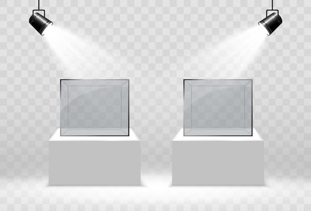 Realistyczne szklane pudełko lub pojemnik na białym stojaku