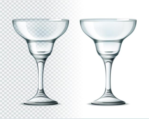 Realistyczne szkło margarita na przezroczystym tle. luksusowe szklane naczynia restauracyjne do napojów alkoholowych.