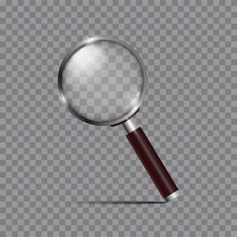 Realistyczne szkło powiększające, lupa lub soczewka do optycznego powiększenia na białym tle. element nowoczesnego designu.