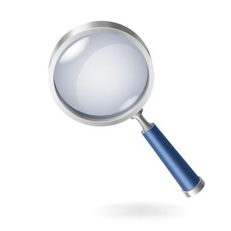 Realistyczne szkło powiększające, lupa lub soczewka ręczna do powiększenia optycznego na białym tle