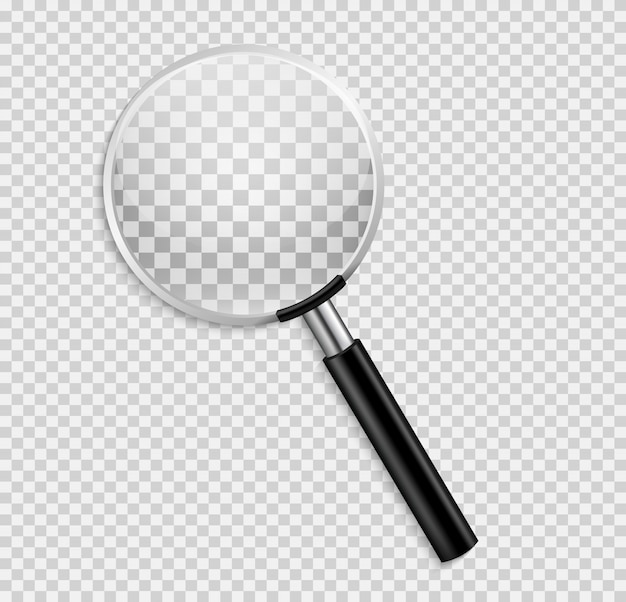 Realistyczne szkło powiększające na białym tle ilustracja na przezroczystym