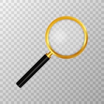 Realistyczne szkło powiększające na przezroczystym. symbol wyszukiwania i inspekcji. biznes artykuły naukowe lub szkolne. ilustracja
