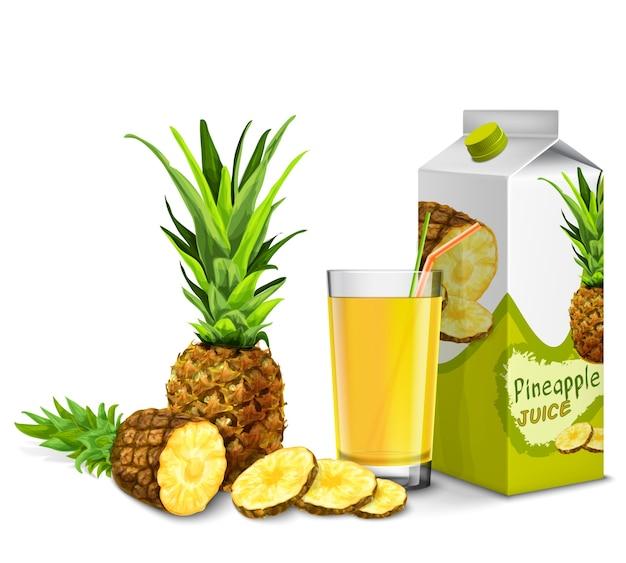 Realistyczne szkło sok ananasowy ze słomką koktajlową i papierową paczką na białym tle ilustracji wektorowych