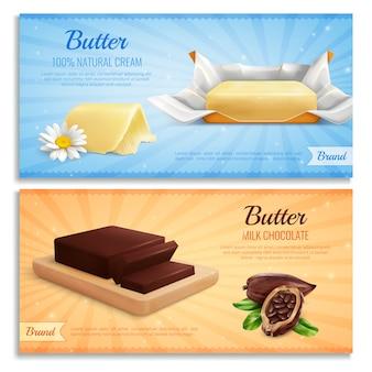 Realistyczne sztandary masła jako makieta marki reklamowej wytwarzają mleczną czekoladę i naturalne masło śmietankowe