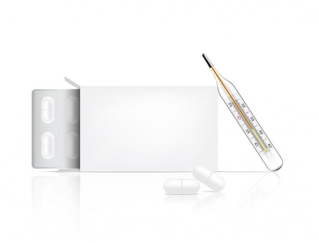 Realistyczne tabletki leku z opakowaniem i termometrem
